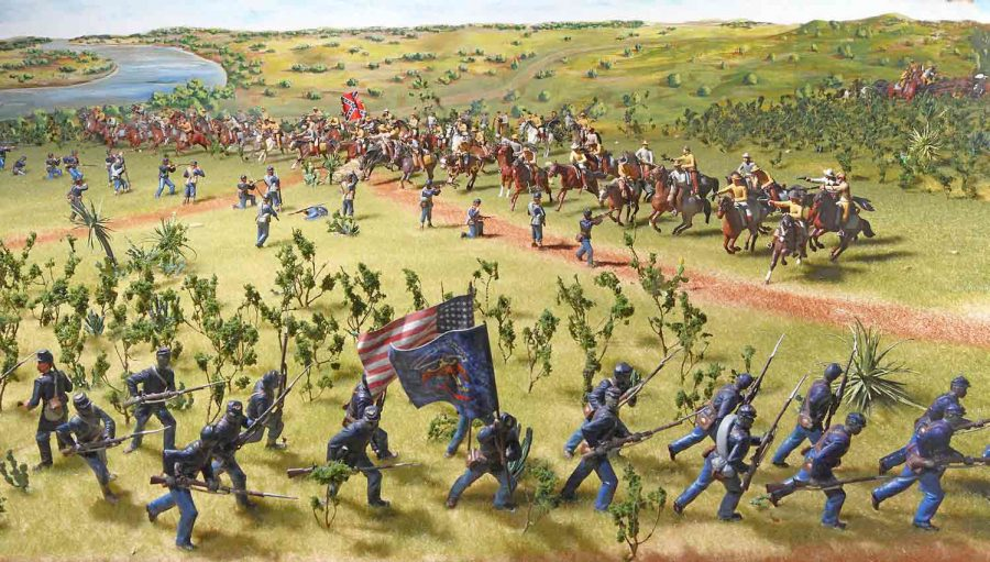Confederate and Union forces battle at Palmito Ranch, May 12-13, 1865. Source: Texas Military Forces Museum.